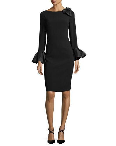 48268f5dbc9 Rickie Freeman For Teri Jon Bell-Sleeve Crepe Sheath Dress In Black ...