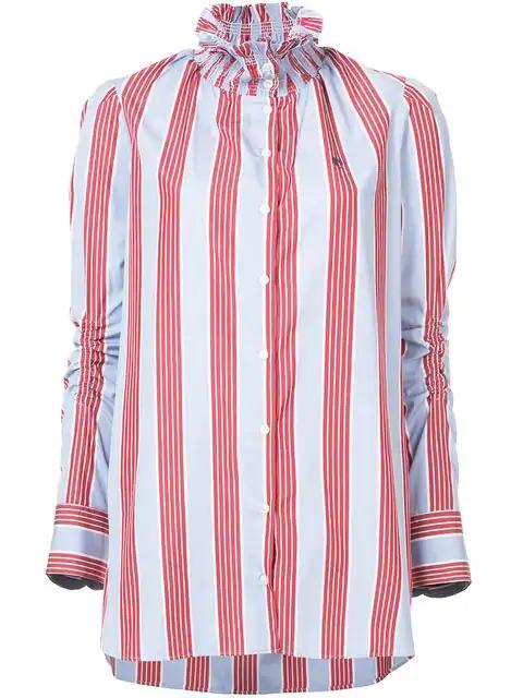 244babd7bc92 Carven Smocked Collar Long-Sleeve Striped Poplin Shirt In Blue ...
