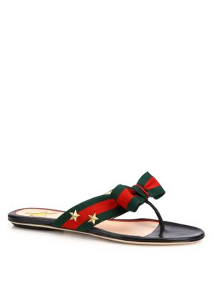cdc1881e5 Gucci Studded Grosgrain Web Thong Sandal In Red Leather