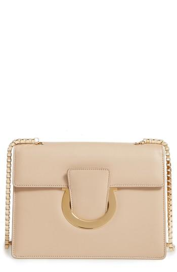 Salvatore Ferragamo Large Thalia Leather Crossbody Bag - Beige In Macadamia 572015c55791a