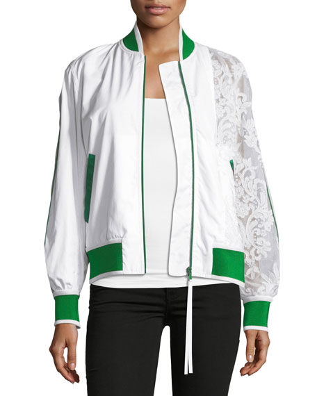 N°21 Zip-Front Sports Bomber Jacket With Lace Sleeve In White