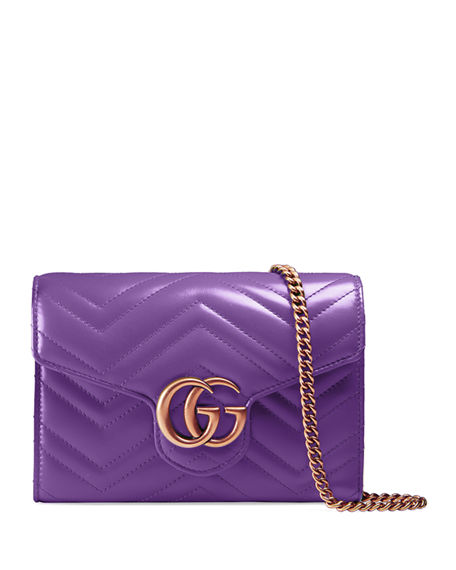 46567057591 GUCCI GG MARMONT CHEVRON QUILTED LEATHER FLAP WALLET ON A CHAIN ...