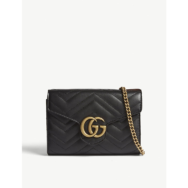 ef470b93bb0 Gg Marmont Chevron Quilted Leather Flap Wallet On A Chain in Black