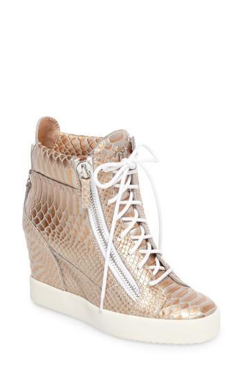 Giuseppe Zanotti Lamay Lorenz High Top Wedge Sneaker In Rose Gold