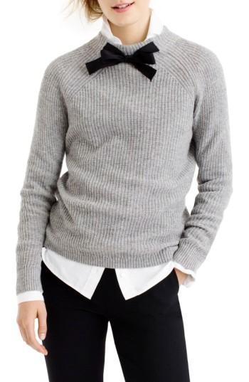 J.crew Gayle Tie Neck Sweater In Heather Muslin