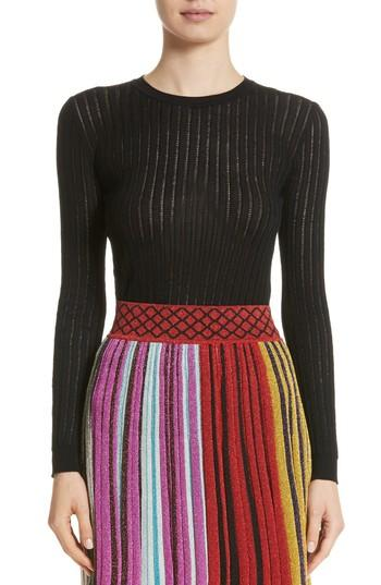 Missoni Knit Wool Blend Sweater In Black