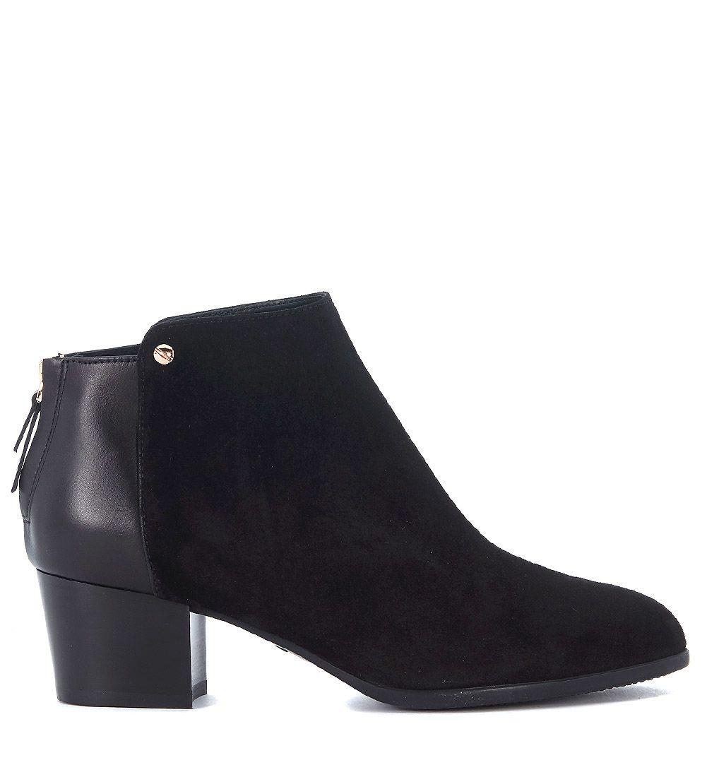 Hogan H314 Suede And Leather Ankle Boots In Nero