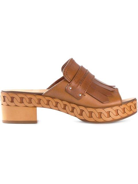 Casadei Open Toe Clog Sandals In Leather Brown