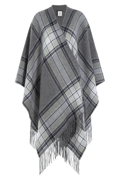 Theory Fringed Wool Cape In Grey