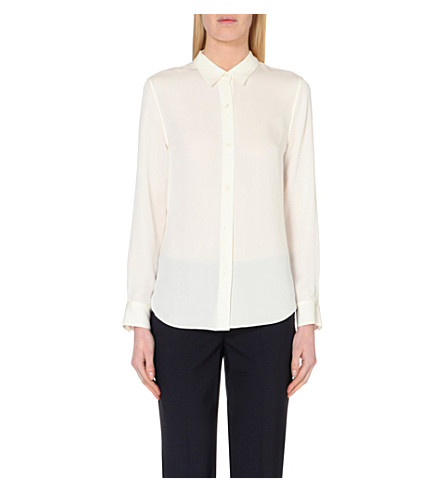Theory 'maybeth' Silk Georgette Boyfriend Shirt In Ivory