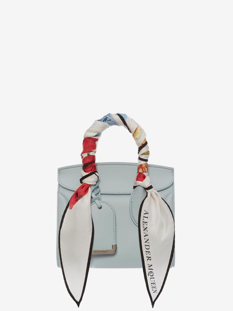 3627b744dfd43 Alexander Mcqueen Mini Heroine 21 Leather Shoulder Bag With Silk Scarf  Handles In Blue