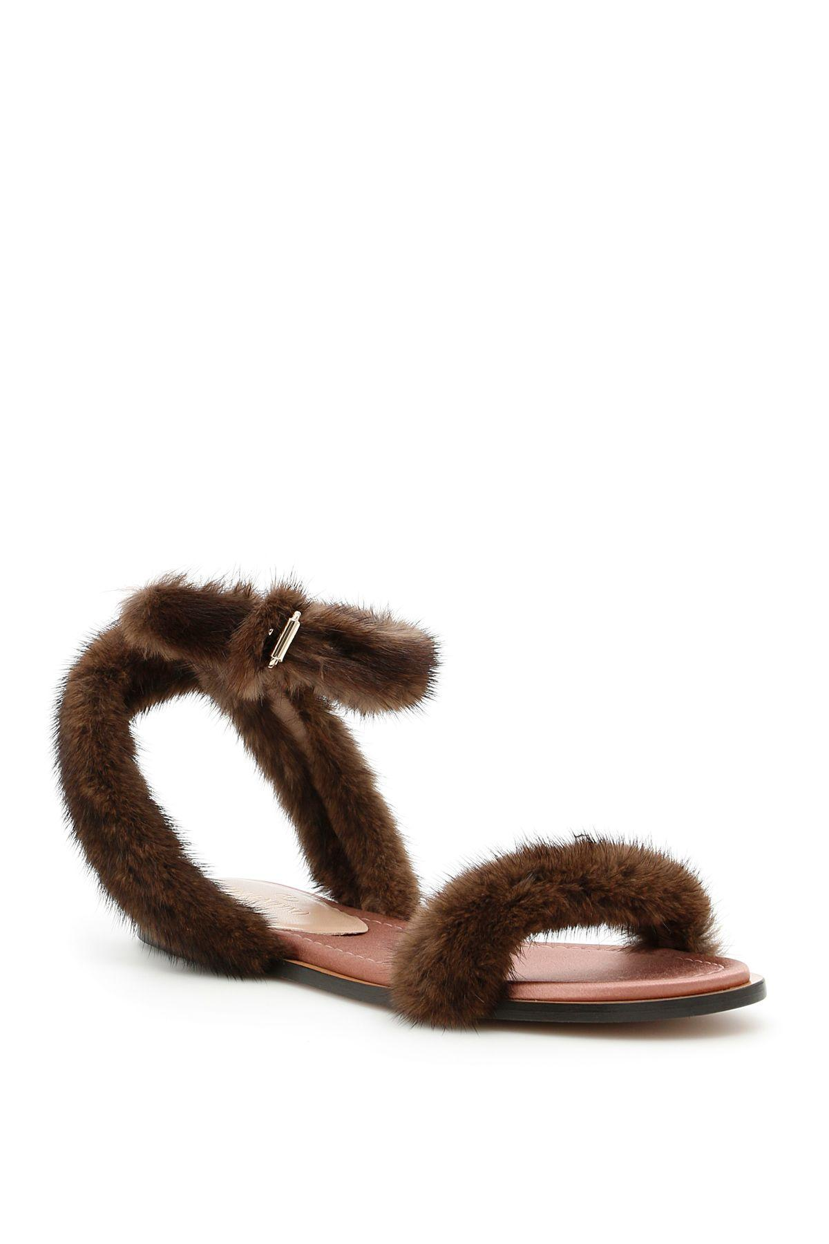 a951e39e628a Valentino Mink Fur Sandals In Visone Lipstick