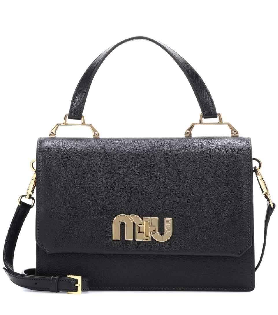 Miu Miu Leather Shoulder Bag In Black