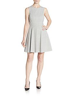 Theory Essential Flare Cap-Sleeve Ponte Mini Dress In 0400088832309