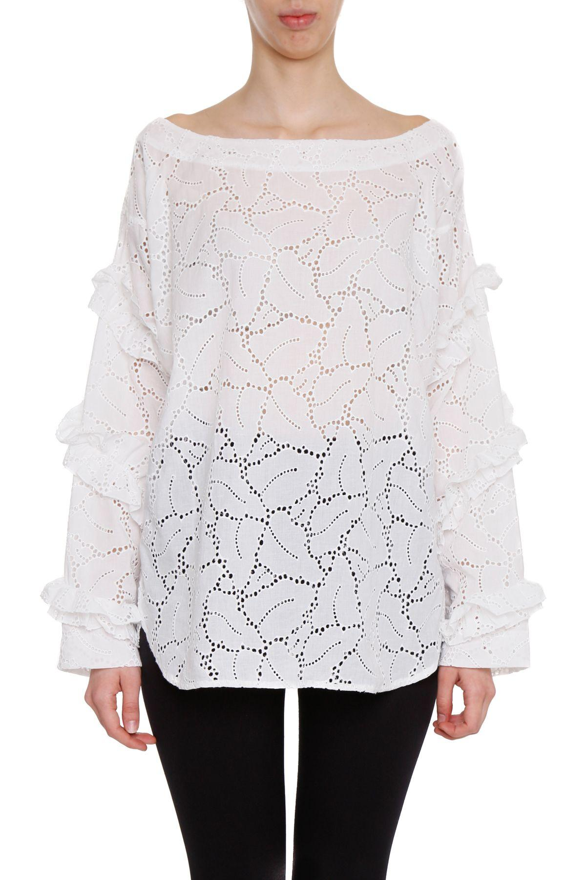 Msgm Sangallo Lace Blouse In Biancobianco