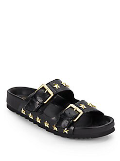 Ash United Star-studded Leather Slide Sandals In Black