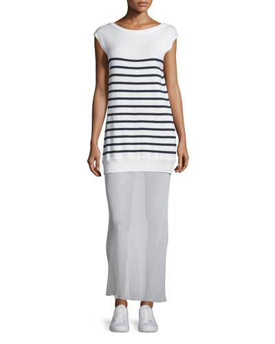 3cac29132f4 T By Alexander Wang Striped Cotton Silk Long V-Back Maxi Dress