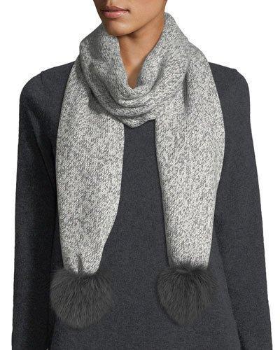 Sofia Cashmere Marled Cashmere Fur Pompom Scarf In Charcoal