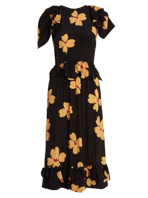 Simone Rocha Floral-print Ruffle-sleeved Crepe De Chine Dress In Black Print