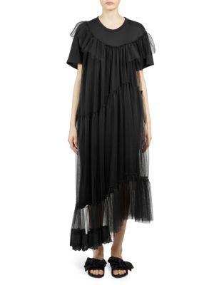 6b804b6ee1023 Simone Rocha Asymmetric T-Shirt Dress With Tulle Overlay In Black ...