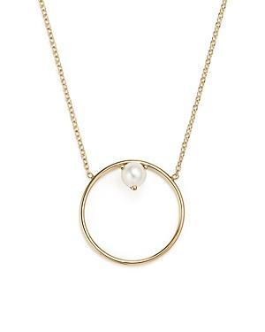 ZoË Chicco 14K Yellow Gold Cultured Freshwater Pearl Circle Pendant Necklace, 18 In White/Gold