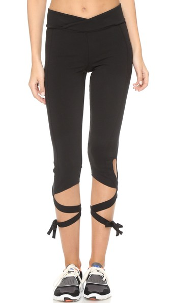 Free People Self-tie Cotton-blend Leggings In Black