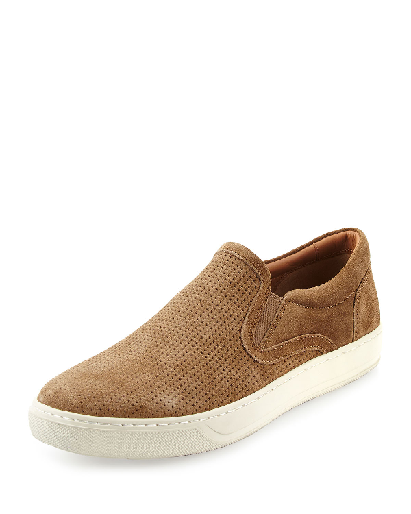 Vince Ace Perforated Suede Slip On Sneakers In Flint