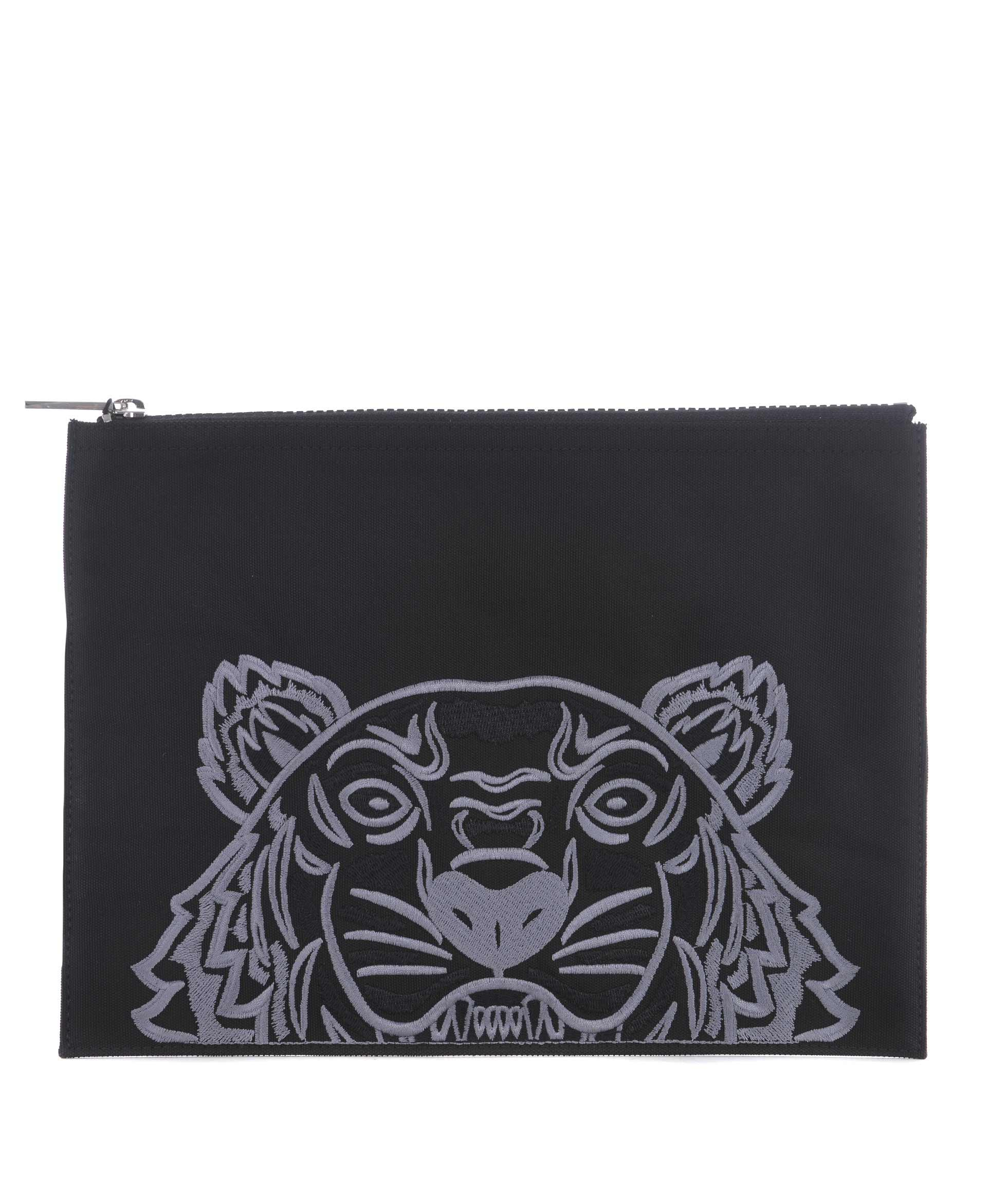 Kenzo Tiger Embroidered Clutch In Nero