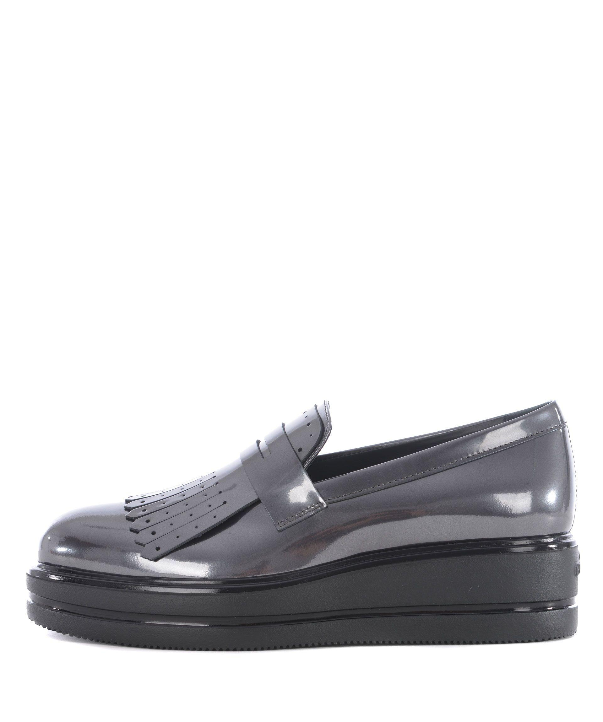 Hogan H323 Maxi Wedge Loafers In Piombo | ModeSens