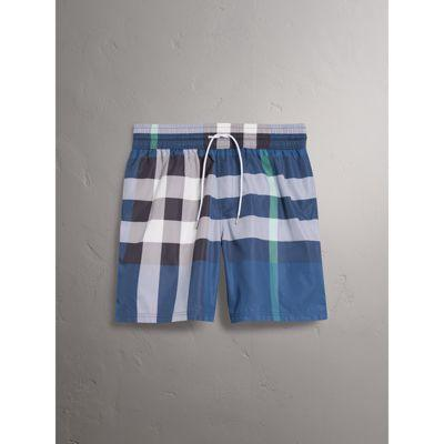 e2957a78c60f3 Burberry Check Print Swim Shorts, Blue, M In Canvas Blue | ModeSens