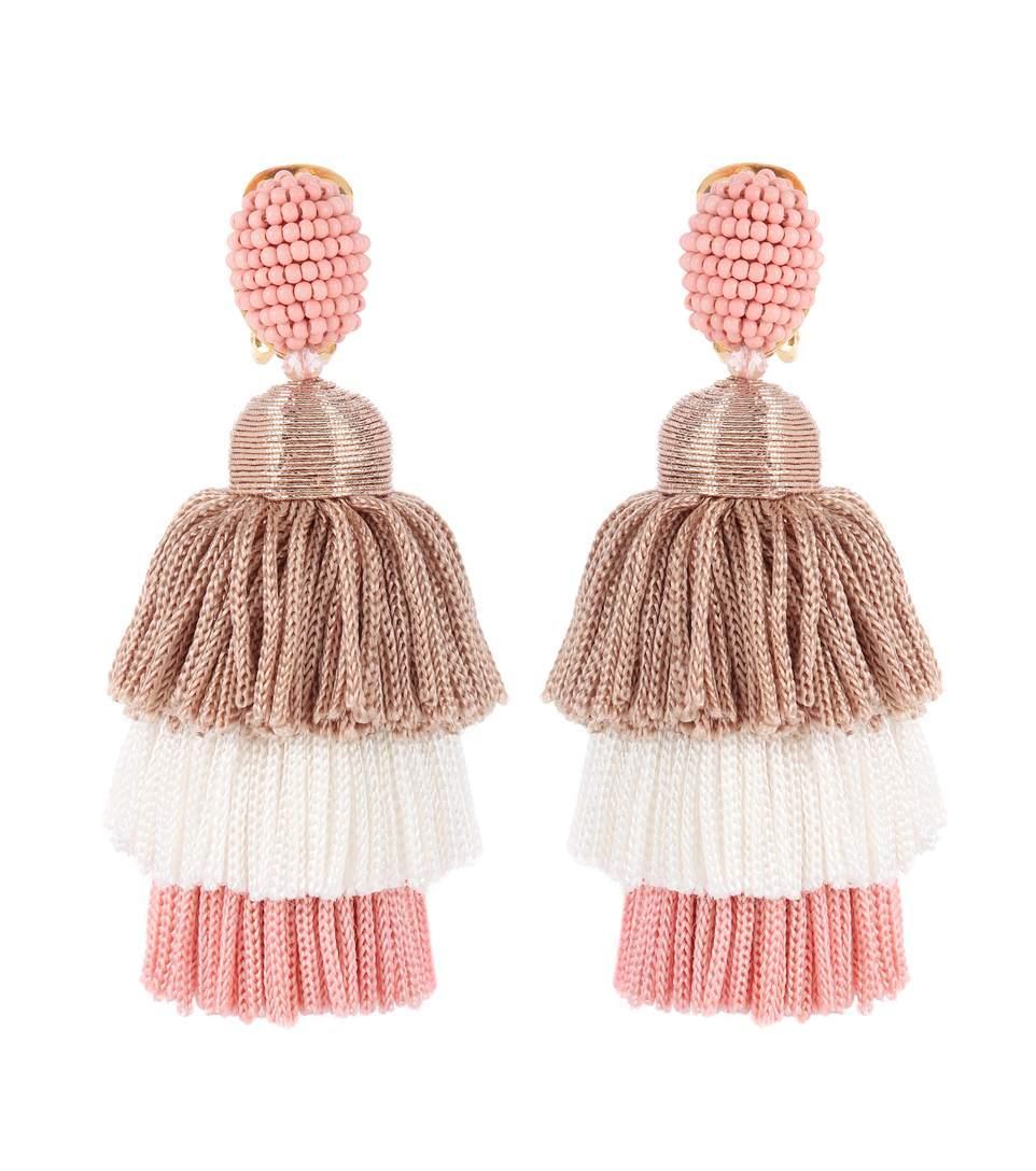 Oscar De La Renta Tassel Clip-On Earrings In Pink