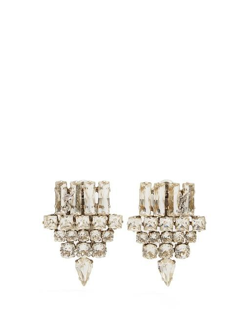0ae932846f9 Saint Laurent Silver Smoking Strass Clip-On Earrings | ModeSens