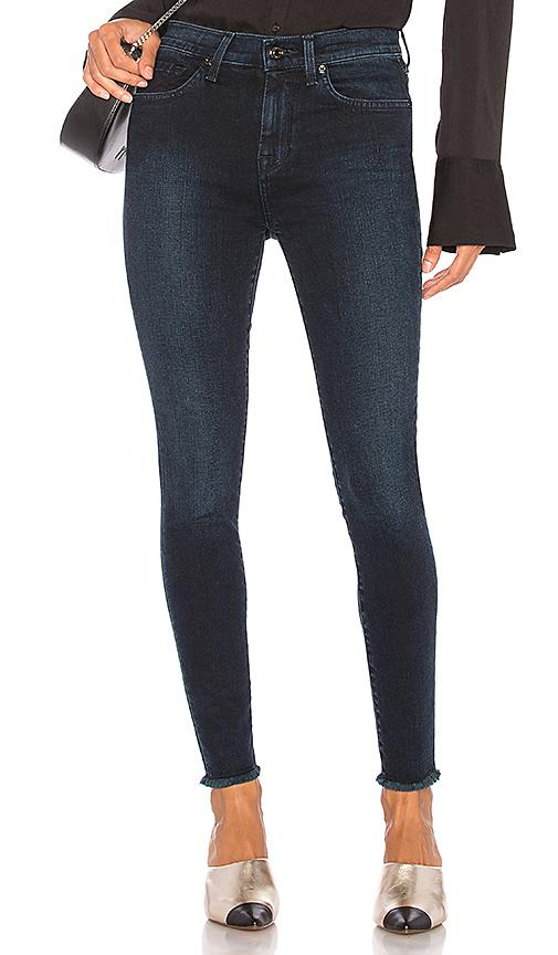 7 For All Mankind Hw Ankle Skinny With Frayed Hem In Smoked Indigo