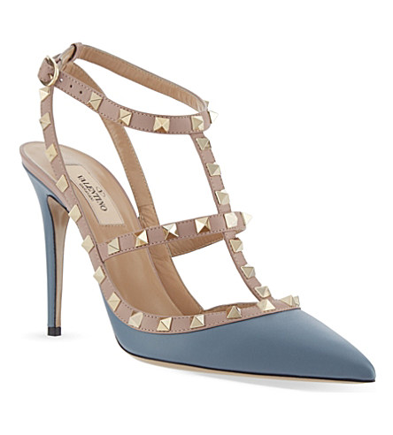 Valentino Rockstud 100 Tbar Sandals In Blue