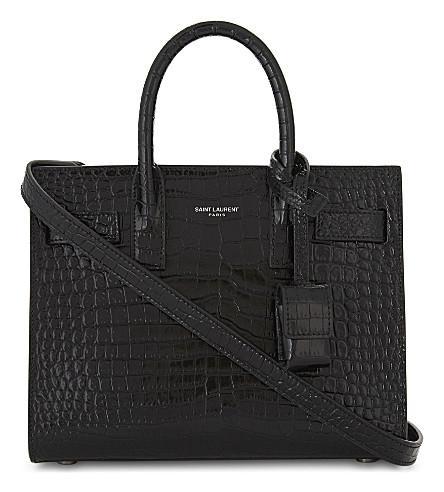 ec3df3966b Saint Laurent Nano Sac De Jour Crocodile-Embossed Leather Bag In Black