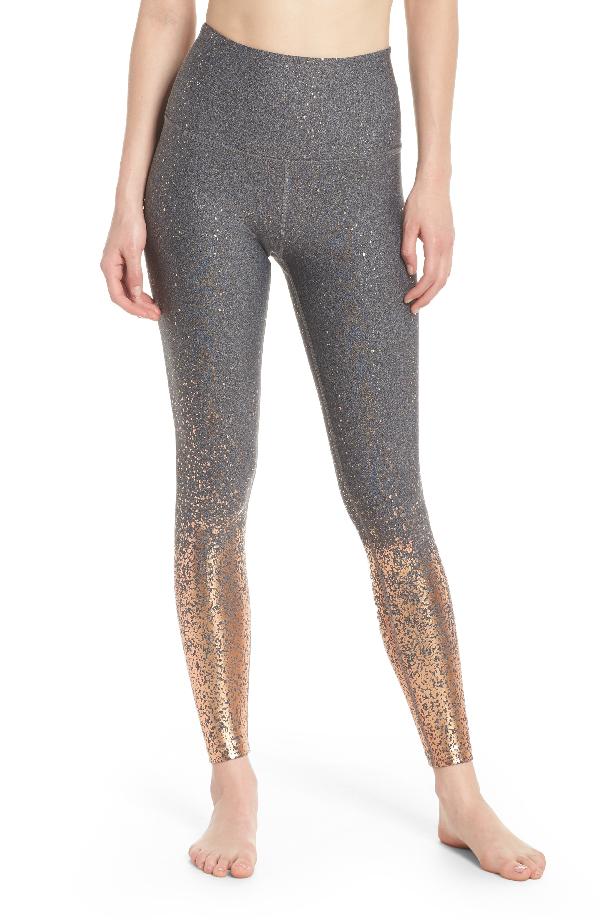 826608f477 Beyond Yoga Alloy Ombre High-Waist Midi Legging In Black-White Rose Gold  Speckle