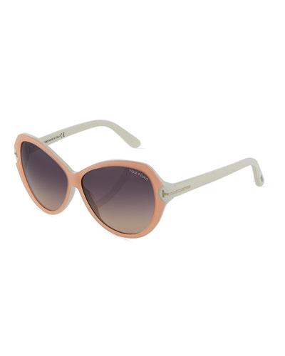Tom Ford Plastic Round Sunglasses In Pink/White