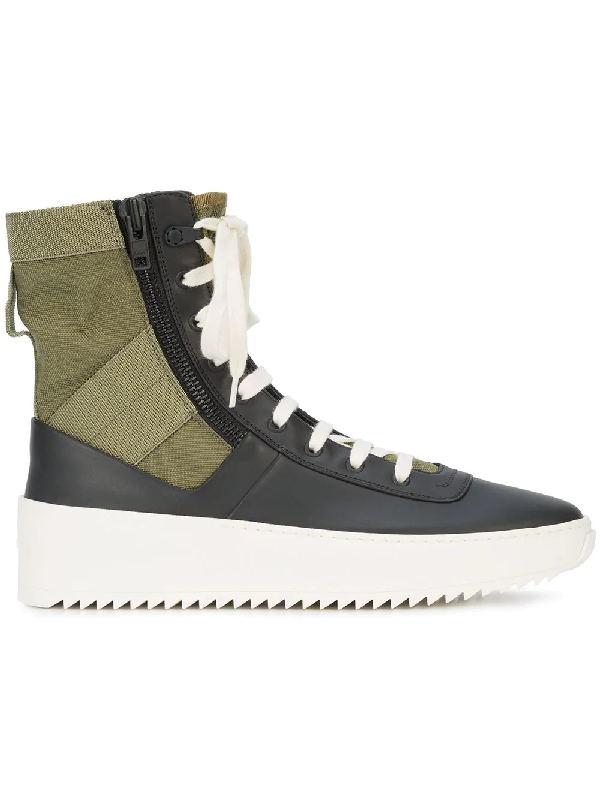 2021dbe0c Fear Of God Men's Jungle High-Top Leather Sneakers With Canvas Insets In  Black