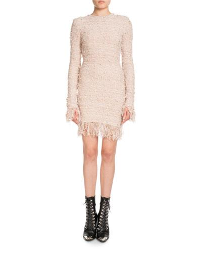 e69897b565f5c Balmain Long-Sleeve Fitted Knit Cocktail Dress With Fringe In Light Pink