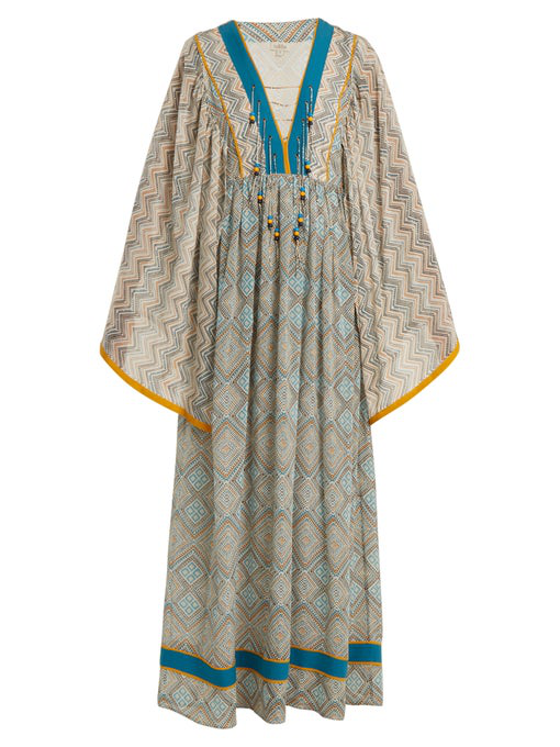 88a656e90f7 Talitha Jasmin Lace-Up Front Long Kimono Silk Caftan With Pompom Trim In  Azure
