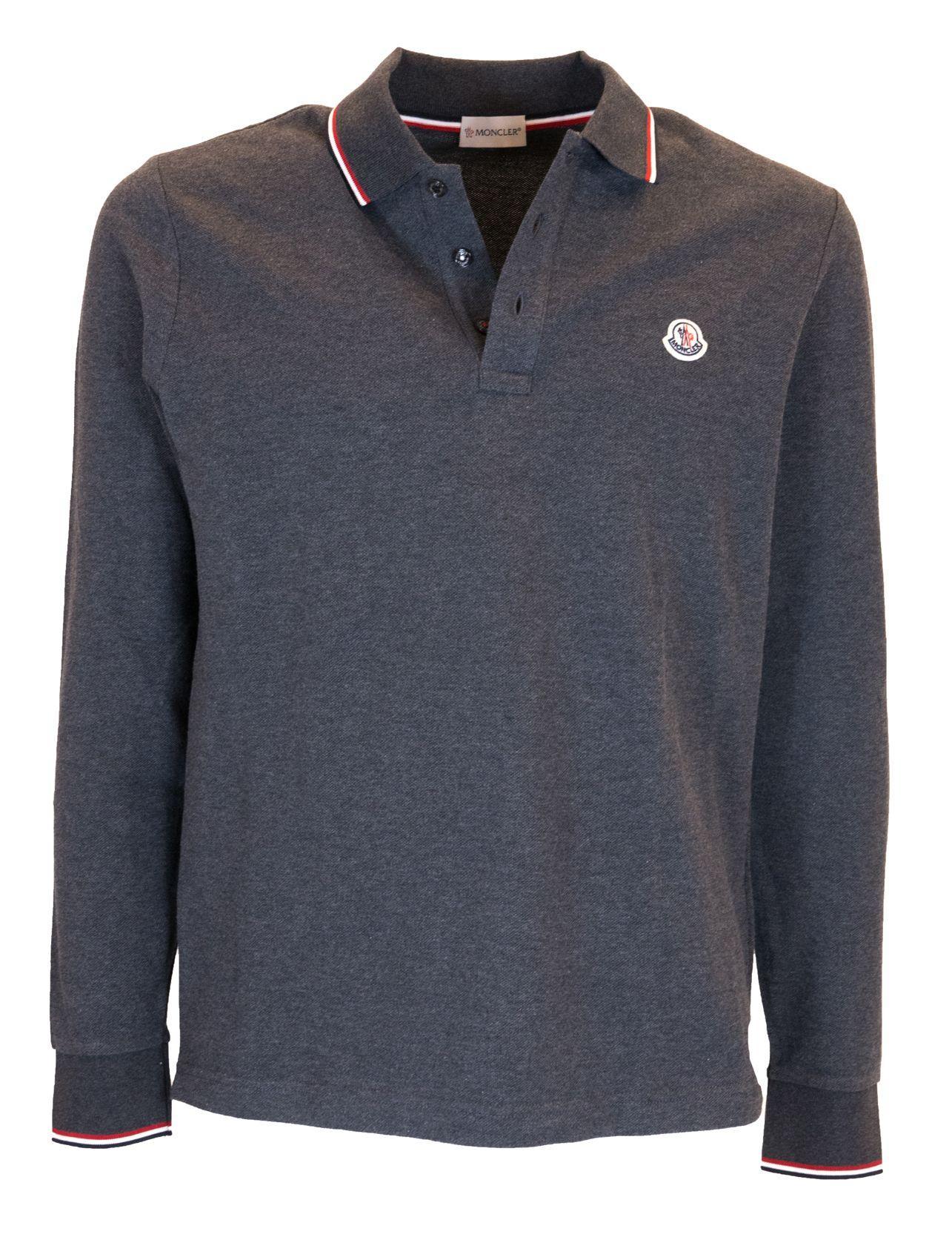 94bde0f2 Moncler Long Sleeved Polo Shirt In Black   ModeSens