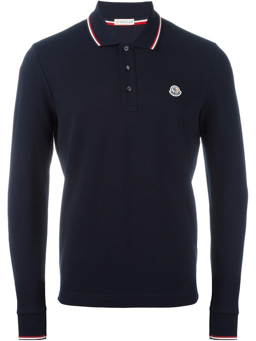 Moncler Long Sleeved Polo Shirt In Black
