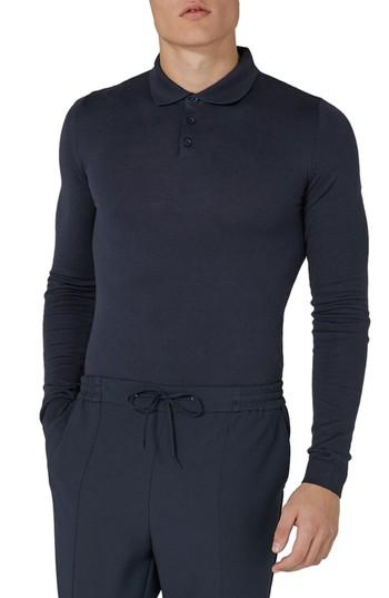 c415f39e Topman Leon Muscle Fit Long Sleeve Polo In Navy Blue | ModeSens