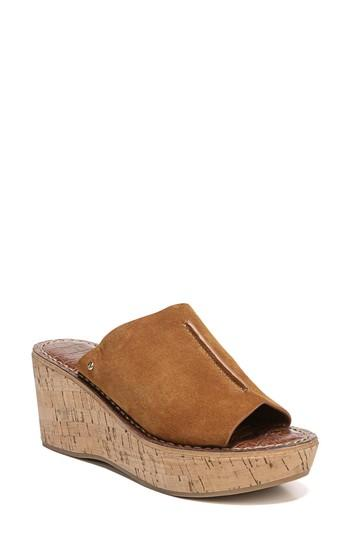 6146420c1bcd Sam Edelman Ranger Suede Wedge Slide Sandal In Luggage Suede