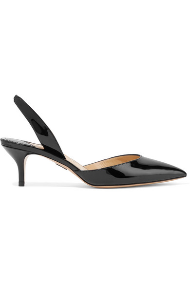 Paul Andrew Rhea Patent-Leather Slingback Pumps In Black
