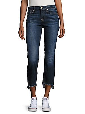 7 For All Mankind Step Hem Cropped Jean In Dark Paradise