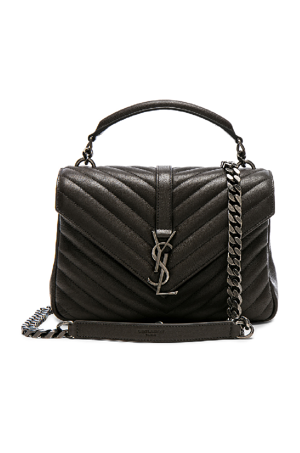 d85bf02b56 Saint Laurent CollÈGe Large Quilted-Leather Shoulder Bag In 1000 Black