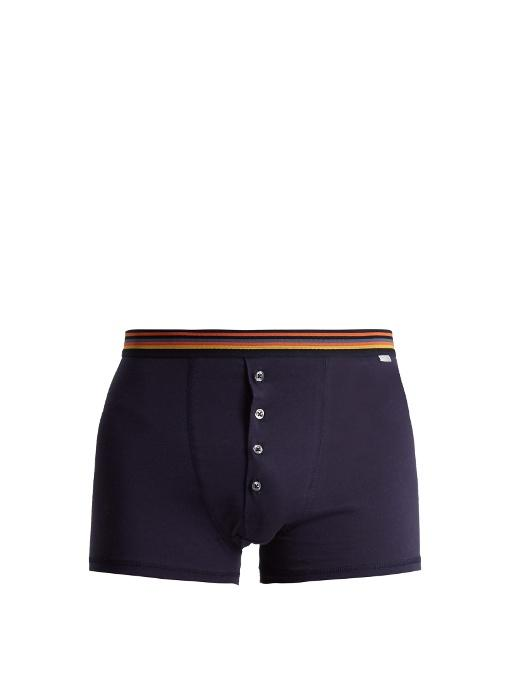 Paul Smith Striped-Waist Cotton-Jersey Boxer Trunks In Navy Multi