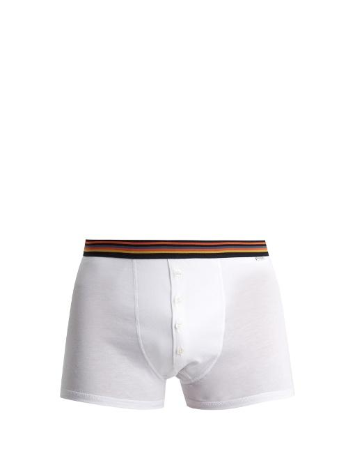 Paul Smith Striped-Waist Cotton-Jersey Boxer Trunks In White Multi