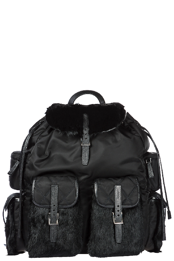 Prada Men's Nylon Rucksack Backpack Travel In Black